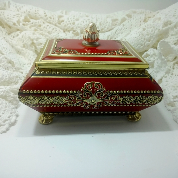 Vintage Red Gold Footed Fancy Finial Tin